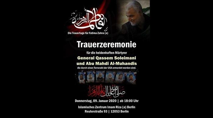 Berlin: Trauerfeier für Terrorgeneral Qassem Soleimani