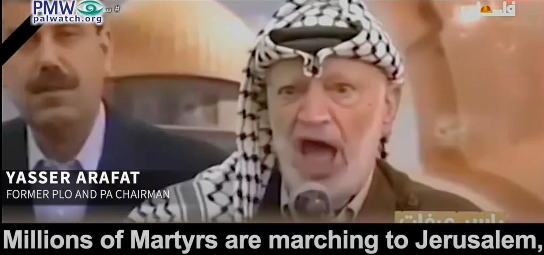 PA TV wirbt für Arafats Aufruf, als