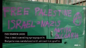"""Bulgarische Synagoge durch """"Free Palestine""""-Schmiereien geschändet"""