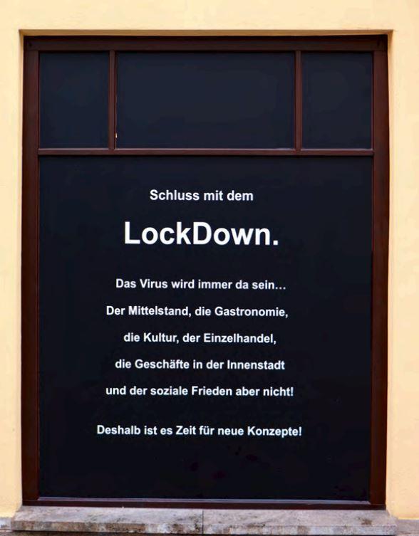 Beendigung des Lockdowns- jetzt!