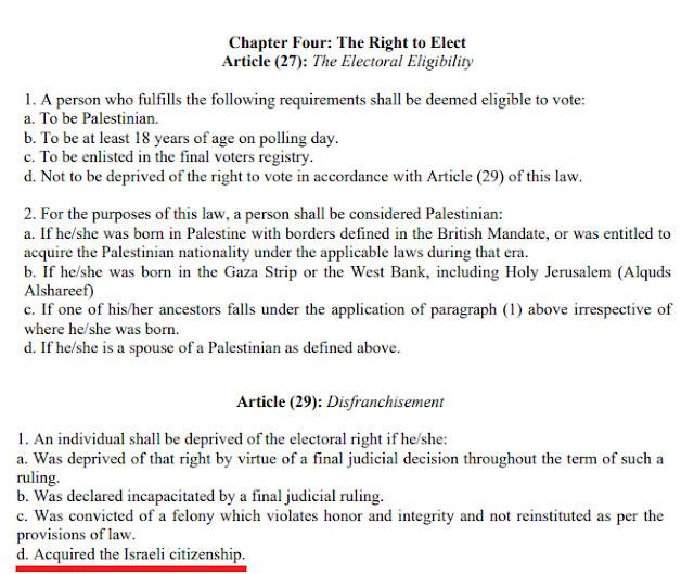 Palästinensisches Recht schließt Israelis ausdrücklich von Abstimmungen aus. Apartheid!!!