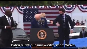 Biden verbringt 30 Sekunden damit, nach seiner Maske zu suchen [Video]