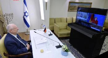 Rivlin führt Abschiedsgespräch mit Deutschlands Merkel, dankt ihr für die Unterstützung Israels