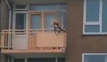 Mann-schiet-mit-Armbrust-auf-PassantenVideo