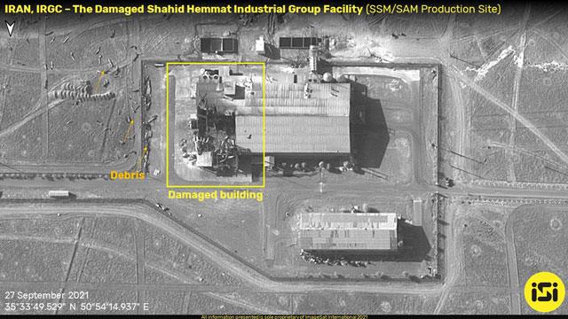 Durch Feuer beschädigtes iranisches Gelände war eine Raketenproduktionsanlage