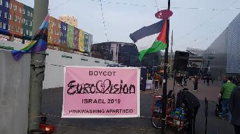 Demonstration in Amsterdam gegen Eurovision Song Contest in Israel