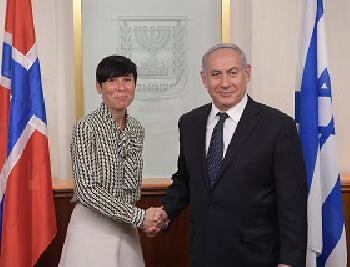 Premierminister Netanyahu trifft mit norwegischer Außenministerin zusammen