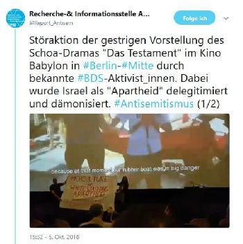 Berlin: BDS stört Aufführung des Holocaust-Films `Das Testament´