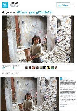 UNRWA wirbt mit Bild aus Syrien um Spenden für Gaza