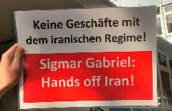 Protest gegen die Iranreise von Minister Gabriel / Gegen den Atomdeal mit Iran