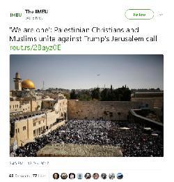 NGO twittert Bild von Juden an der Kotel als `palästinensische Christen und Muslime vereint gegen Trump´