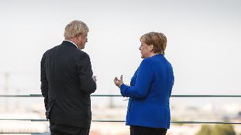 Pressekonferenz von Boris Johnson und Angela Merkel